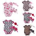 Baby Girl Floral Infantil 3 pcs Conjuntos de Roupas de Algodão de Manga Curta Romper/Jumpersuit + Cabeça + Sapatos Bebe Aniversário trajes Terno