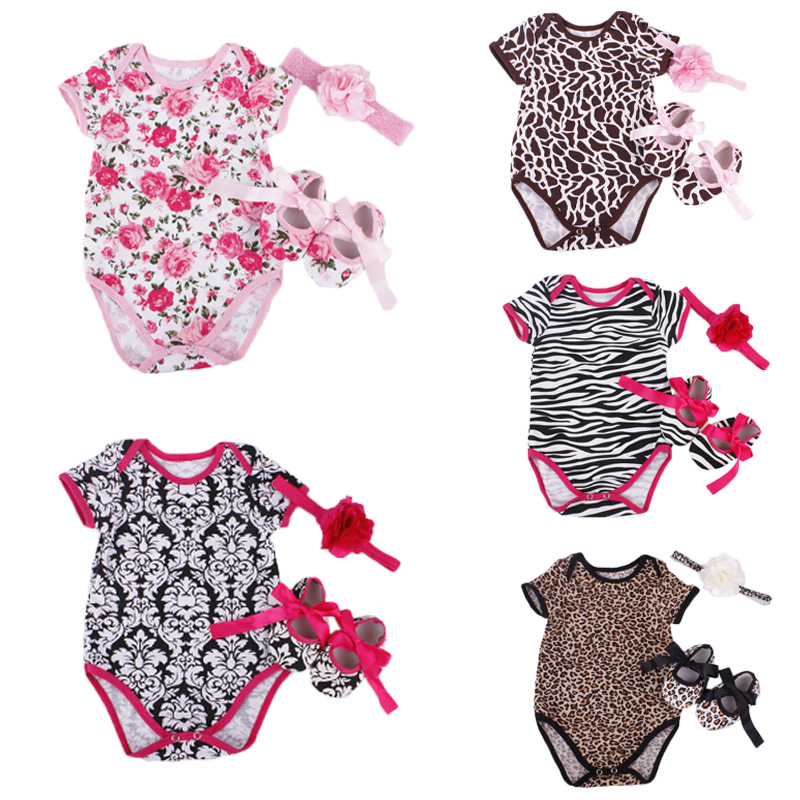 Floral Baby Girl Infant 3pcs Clothing Sets Cotton Short Sleeve Romper/Jumpersuit+Headband+Shoes Bebe Birthday Costumes Suit baby girl clothing sets christmas set lace tutu romper dress jumpersuit headband shoes 3pcs set bebe first birthday costumes