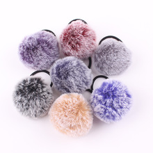 1PC sweet Faux Rabbit Fur Ball Elastic Hair Bands Hairball Pattern Scrunchie For Girl Ponytail Holder Women Headwear p-1136