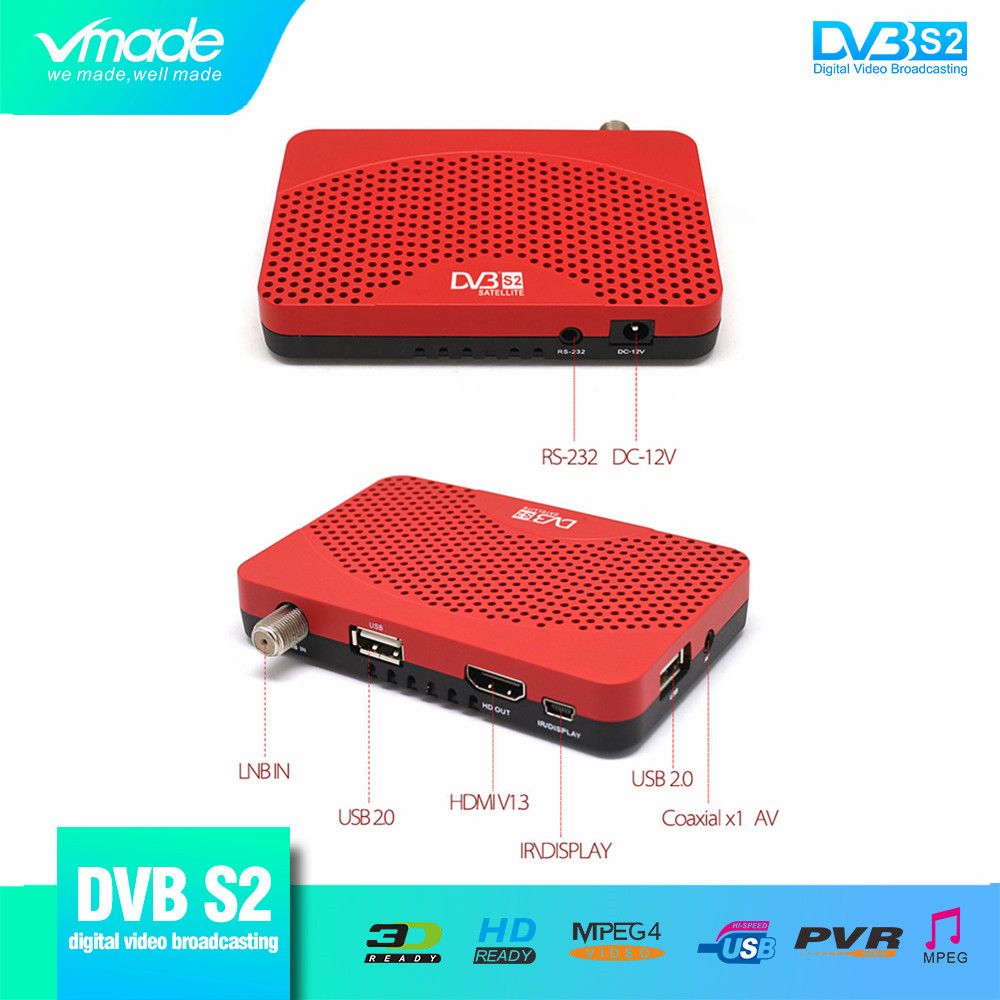 Newest DVB S2 Mini Fully HD Digital Satellite TV Receiver Support FAT PVR CCCAM 1080p H.264 MPEG2/4 DVB T2 Receptor Support WIFI
