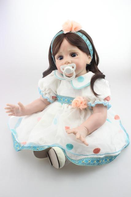 Open to booking NPK Bebe Reborn Silicone girl Dolls 60 cm Handmade Realistic Soft Silicone Baby Alive Boneca model Kids Toy Gift
