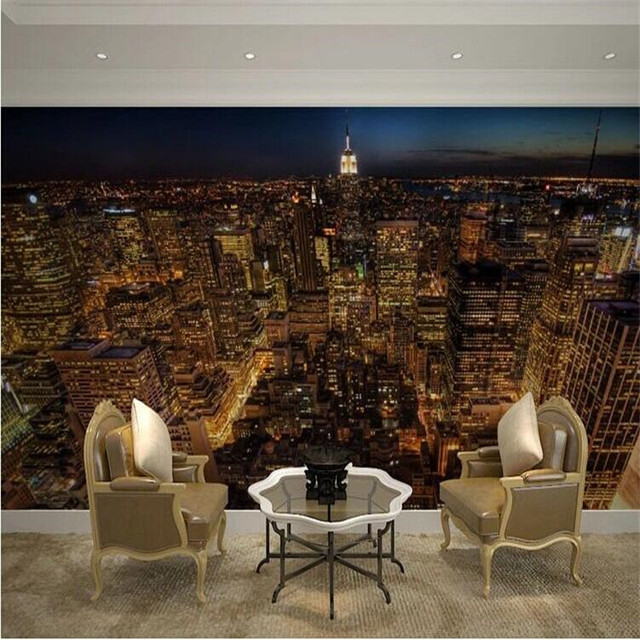 Beibehang Personnalisé 3d Papier Peint 3d Moderne Américain Paysage Urbain  Canapé Chambre Salon Vidéo Mur Hôtel