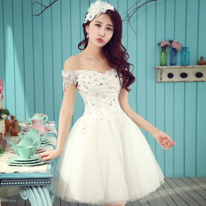 Short bridal dress sexy boat neck crystal white tulle dress knee short bridal dress sexy boat neck crystal white tulle dress knee length a line fashionable romantic cute short wedding gown in wedding dresses from weddings junglespirit Image collections