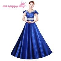 Cộng với kích thước giá rẻ modest dài satin royal blue cap tay bridesmaid đảng dresses đối với bridesmaids gowns in màu xanh dưới 50 H2914