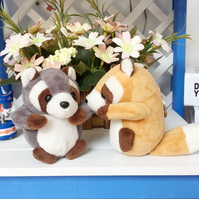 1pc 10cm Staffed Raccoon Plush Bag mobile phone Pendant Kawaii Animal Key Chains wholesale Baby Children Doll Birthday Gift