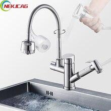 Dual Spouts Pull Out Sprayer Single Handle Hole Kichen Faucet Deck Mounted Brass Chrome Vessel Sink Mixer Tap