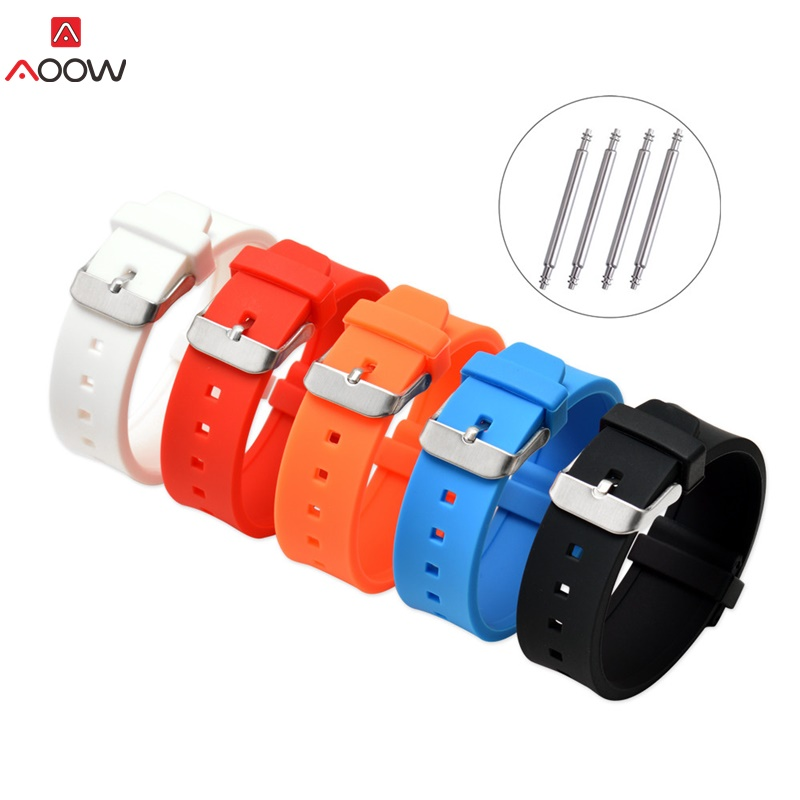 AOOW Generic Watch Straps For Sport Watch Silicone Rubber Watch Band Wrist Belt Bracelet 16mm 18mm 20mm 22mm 24mm 26mm 28mm