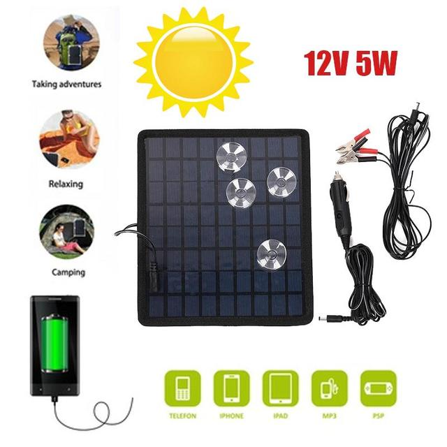 12V 5W Solar Charging Board Polysilicon Chargers Battery Portable Consumer Electronics For Car Boat Automobile Outdoor Travel 1