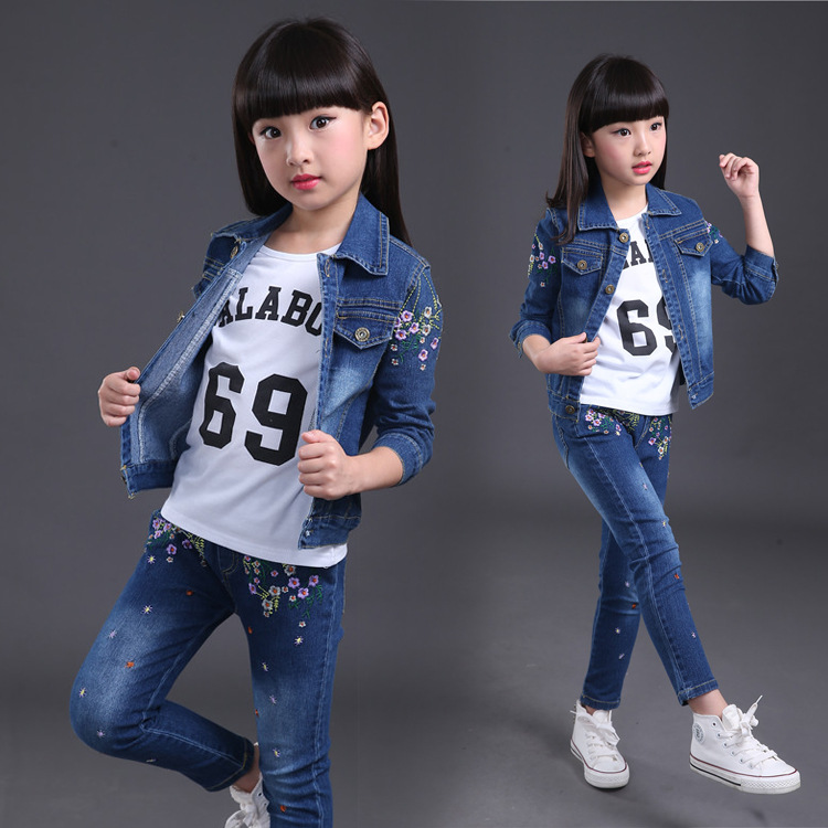 Baby Fashion Clothing Kids Girls Cowboy Suit Children Girls Sports Suit cotton Denim Long Sleeve Jacket+shirt+denim Jeans 3pcs children s clothing spring high quality cowboy three piece suit of the girls flowers fashion baby suit denim set for infants