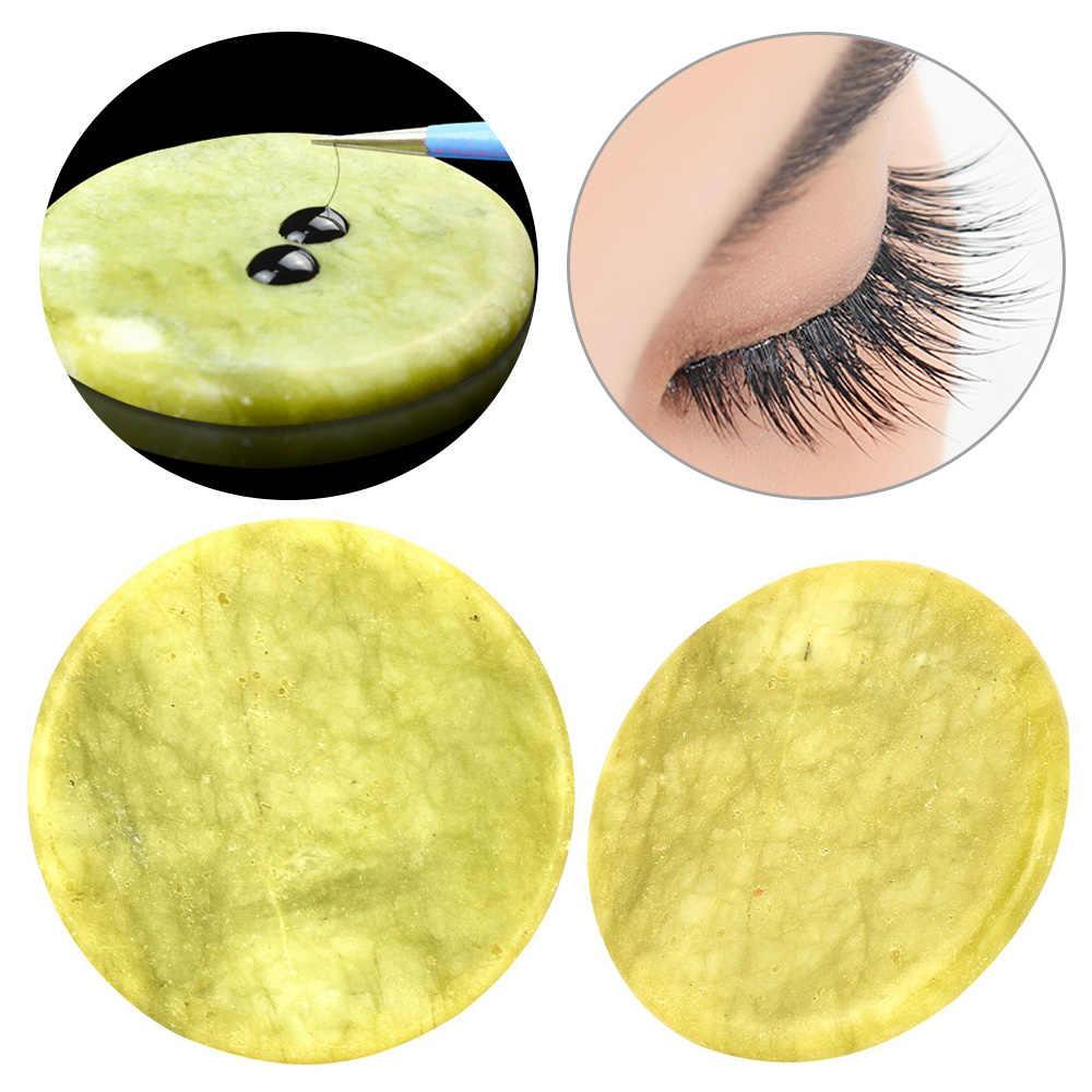 Juego de Herramientas de maquillaje de pegamento de extensión de pestañas postizas de piedra de jade redonda de 2 tipos para extensiones de pestañas 1