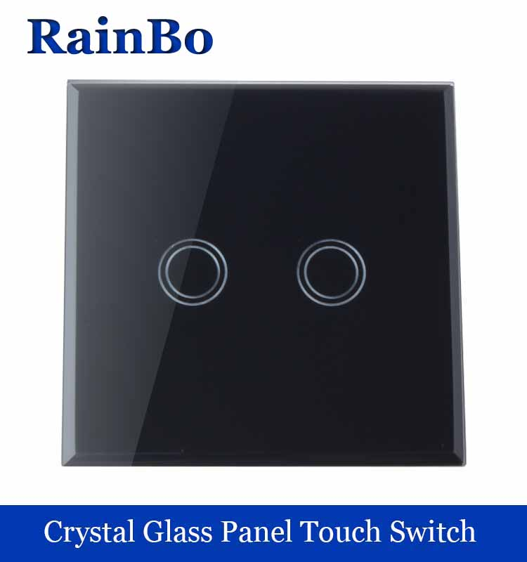 New Crystal Glass Panel wall switch EU Standard 110~250V Touch Switch Screen Wall Light Switch 2 gang 1 way balck rainbo Brand 2017 smart home crystal glass panel wall switch wireless remote light switch us 1 gang wall light touch switch with controller