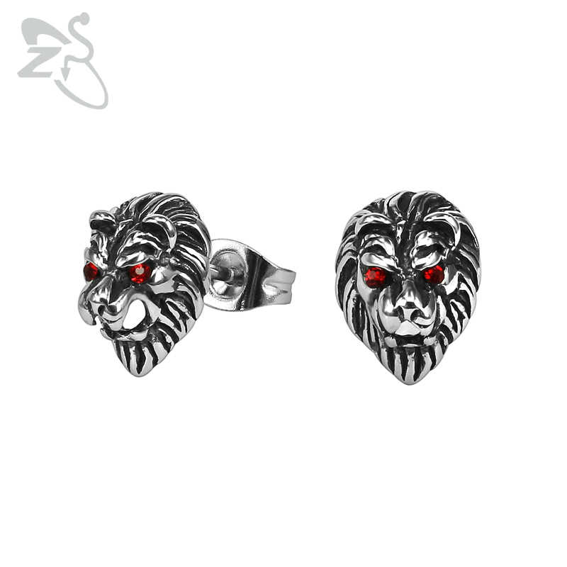 2f78fa9b94ce1 ZS Punk Lion Stud Earrings with Red CZ Eyes Men's Stainless Steel ...
