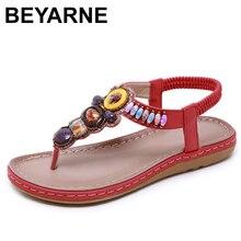 BEYARNE صيف جديد المرأة صندل مسطح أحذية امرأة بوهو بوهيميا صنادل شاطئ سلسلة العرقية حزام العنبر الصنادل حجم 35 42E593