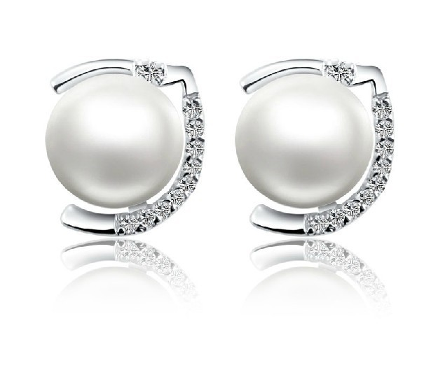 Cubic Zirconia Mount Natural Freshwater Pearl Earrings Stud Engagement For Women Sterling Silver Platinum Plated