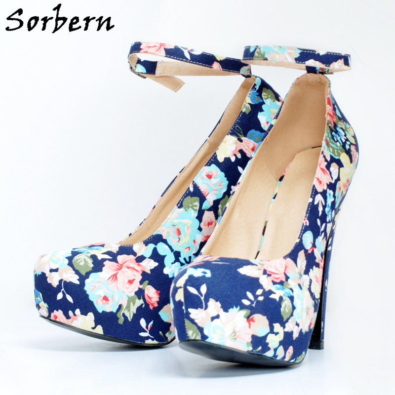 Sorbern Floral Women Pumps High Heels Shoes For Women Platform Point Toes Heels Plus Size 34-48 New Arrivals Ankle Straps Sexy new arrivals women s pumps summer sexy thin high heels pumps white platform wedding shoes for women plus size ladies shoes