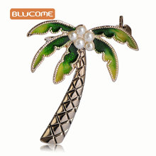 Blucome Cute Green Coconut Tree Shape Brooches Women Girls Dress Sweater Jewelry Simulated Pearls Enamel Plant Corsages Pins Up