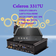 Мини-ПК Интер Celeron 3317U Dual Nics 4 * RS232 COM промышленный ПК Прочный компьютер 300 М Wi-Fi BT HDMI + VGA Безвентиляторный Windows 7/8/10