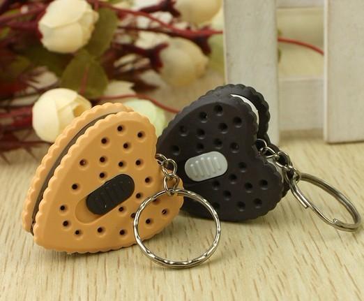 Simulation Love Heart Cookie Mini  Light LED Flashlight  Key Chains Ring Keyrings Free shipping