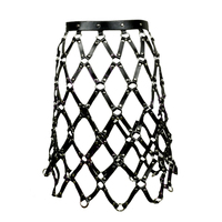 New Sexy Pub Party leather chain skirts belts Women Frame Caged Leather Body Bondage Harness Waist Cincher Skirt Dress Belts