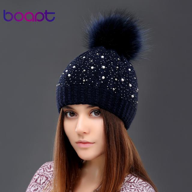BOAPT pérola do diamante com double-deck grosso knited chapéu do inverno de lã para as mulheres tampas genuína pele de guaxinim pompom senhoras chapéus gorros