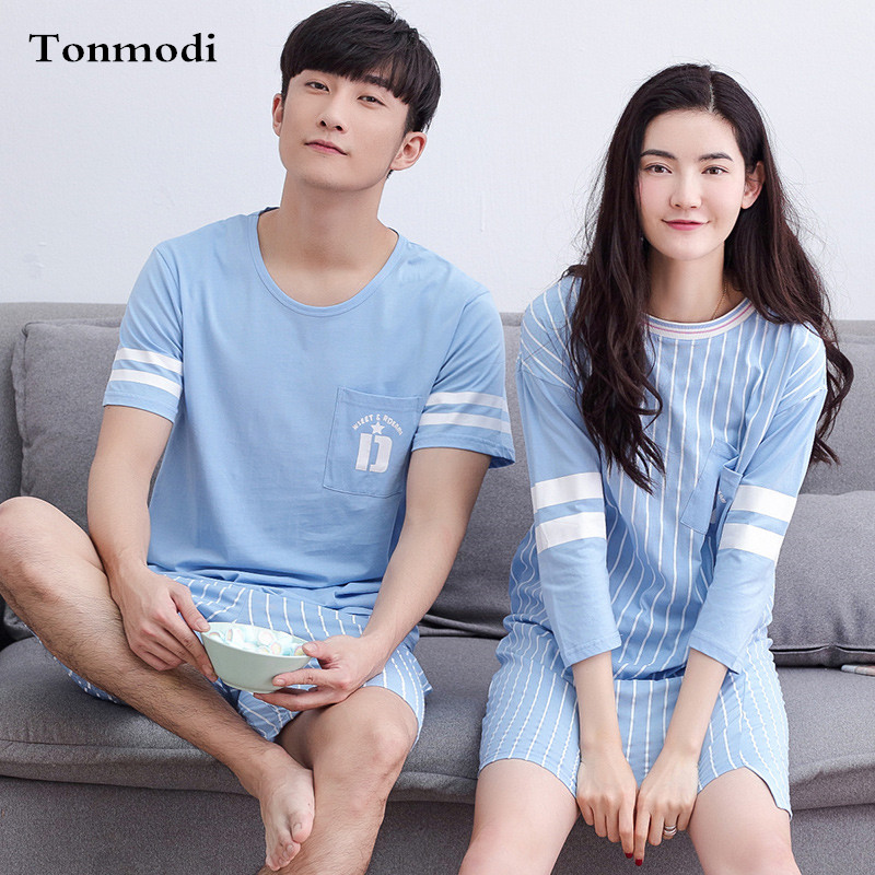 Sleepwear For Couples Summer Cotton Stripe Sleep Nightgowns Men And Women Pyjamas ...