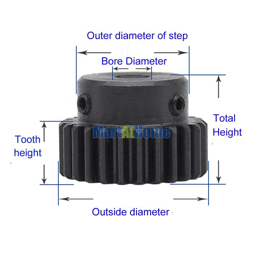 Купить с кэшбэком 3 PCS Spur Gear Rack Pinion 12-25 Teeth M1 Bore Dia. 4/5/6/6.35/7/8 mm Straight Teeth Positive 45# Steel with Boss