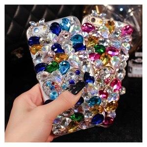 Image 1 - Luksusowe Bling diament etui na telefony dla Huawei Honor 7X 7C 7A 8 9 10 Lite 8X Max 8A Pro Rhinestone kryształ pokrywa Fundas Coque