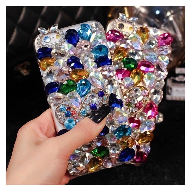 Sang trọng Bling Kim Cương Ốp Lưng điện thoại Huawei Honor 7X 7C 7A 8 9 10 Lite 8X Max 8A Pro Kim Cương Giả crystal Cover Fundas Coque