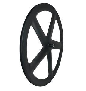 Image 2 - 700C Volle Carbon 5 Speichen Klammer/Rohr Räder Fünf speichen carbon laufradsatz für Track/Rennrad UD /3K matte finish