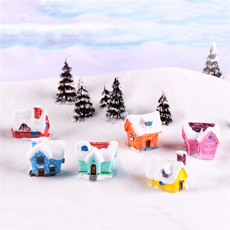 Creative Snow House Resin Ornaments Moss Micro Landscape World Ornament Decoration Accessaries DIY Cake Decoration
