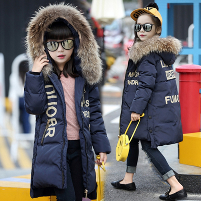 Girl Duck Down Jacket  Winter Children Coat Hooded Parkas Thick Warm  Windproof Clothes Kids Clothing long Model Outerwear girl coat winter duck down and jackets kids outwear warm jacket girls clothes parkas children baby girls clothing with hooded