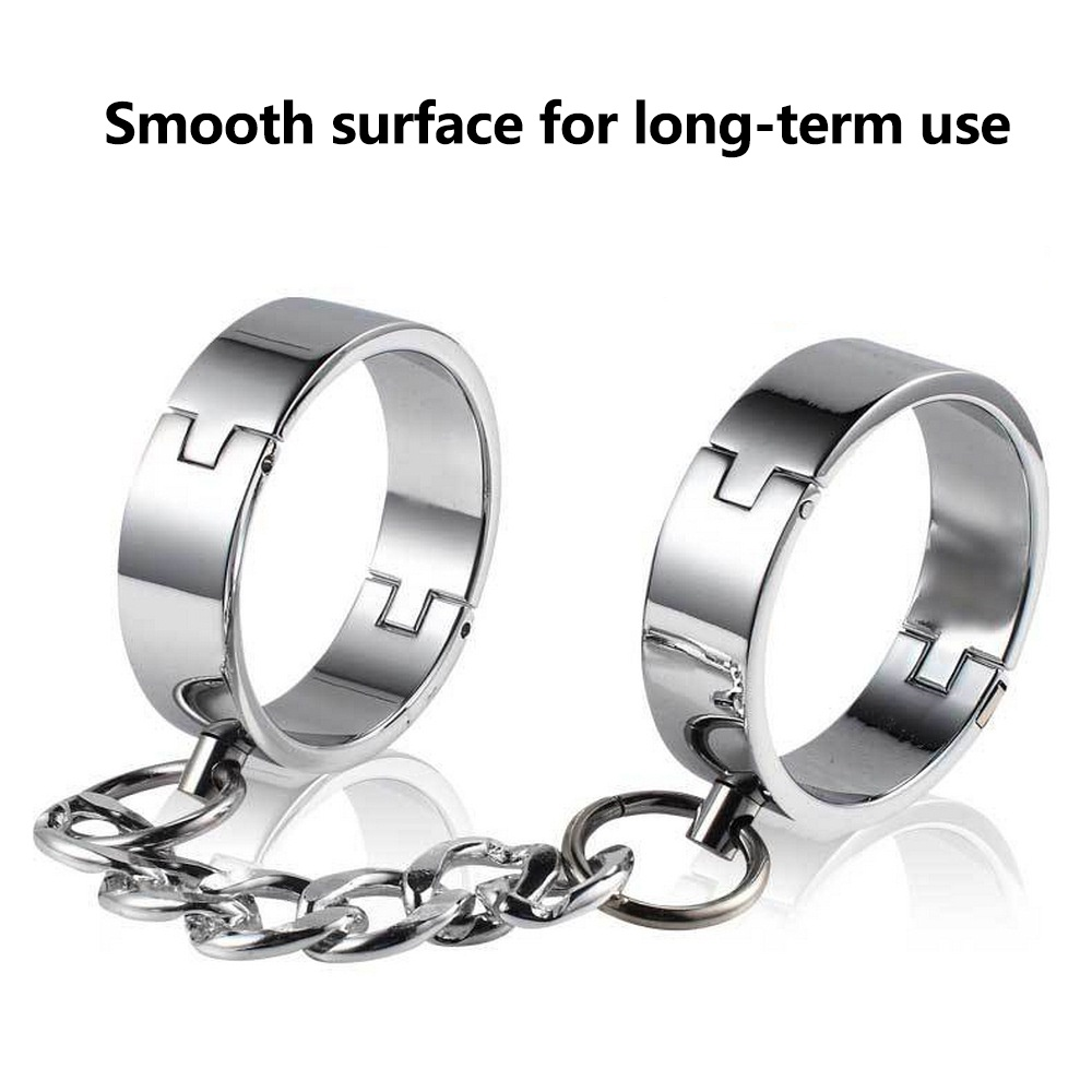 2pcs Stainless Steel Handcuff Wrist Bdsm Bondge Metal Ankle Cuffs Binding Bolt Lock Gay Fetish Slave Restraints Adult Sex Toys