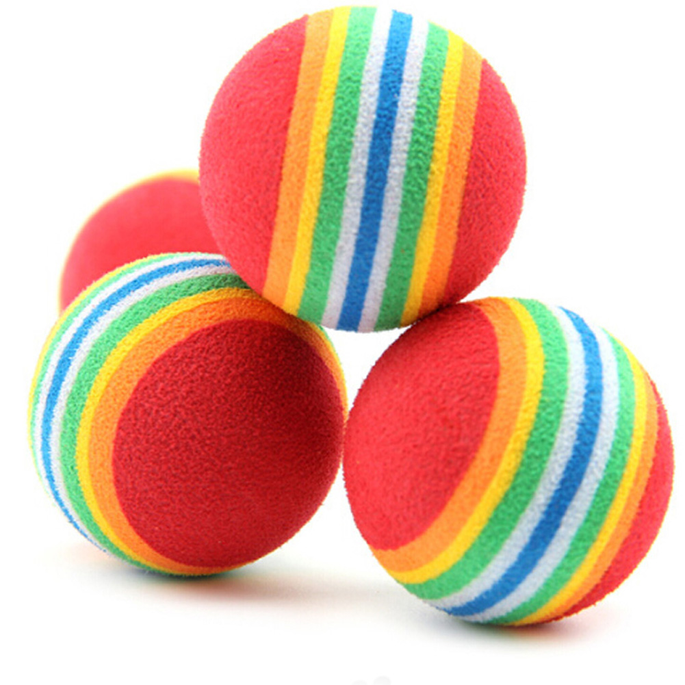 1pc Colorful Pet Cat Kitten Soft Foam Rainbow Play Balls Activity Toys Funny Eva Balls