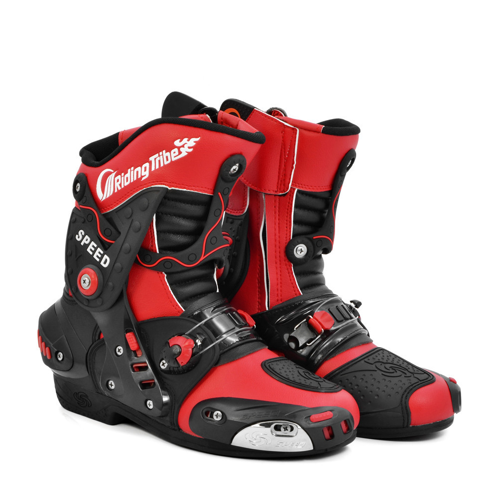 Pro-Biker New Speed super Leather Motorcycle Racing Boots Motorbike Riding Tribe Motocross off Road Riding mid-calf Boots riding tribe motorcycle waterproof boots pu leather rain botas racing professional speed racing botte motorcross motorbike boots