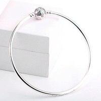 Yeni 925 Gümüş Bileklik Kristal Kar Tanesi Alkış Yılan Zincir Bileklik Bileklik Fit Kadınlar Boncuk Charm DIY Takı