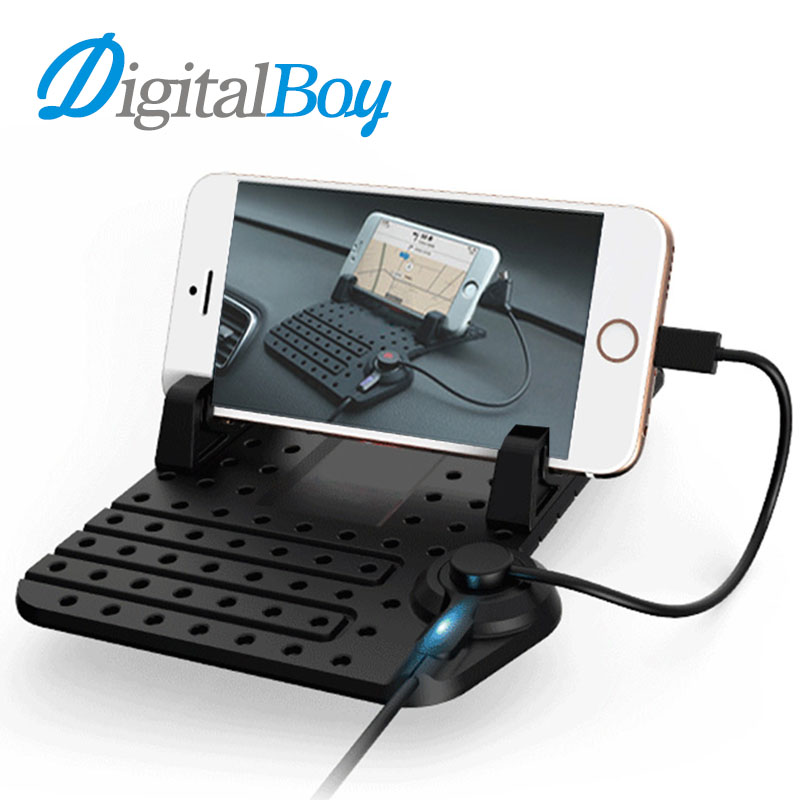 Digitalboy Car Anti Slip Mat Magic Sticky Pad Mobile Phone Holder Car Dashboard Silicone Mat USB Charge Cable for iphone Android цена