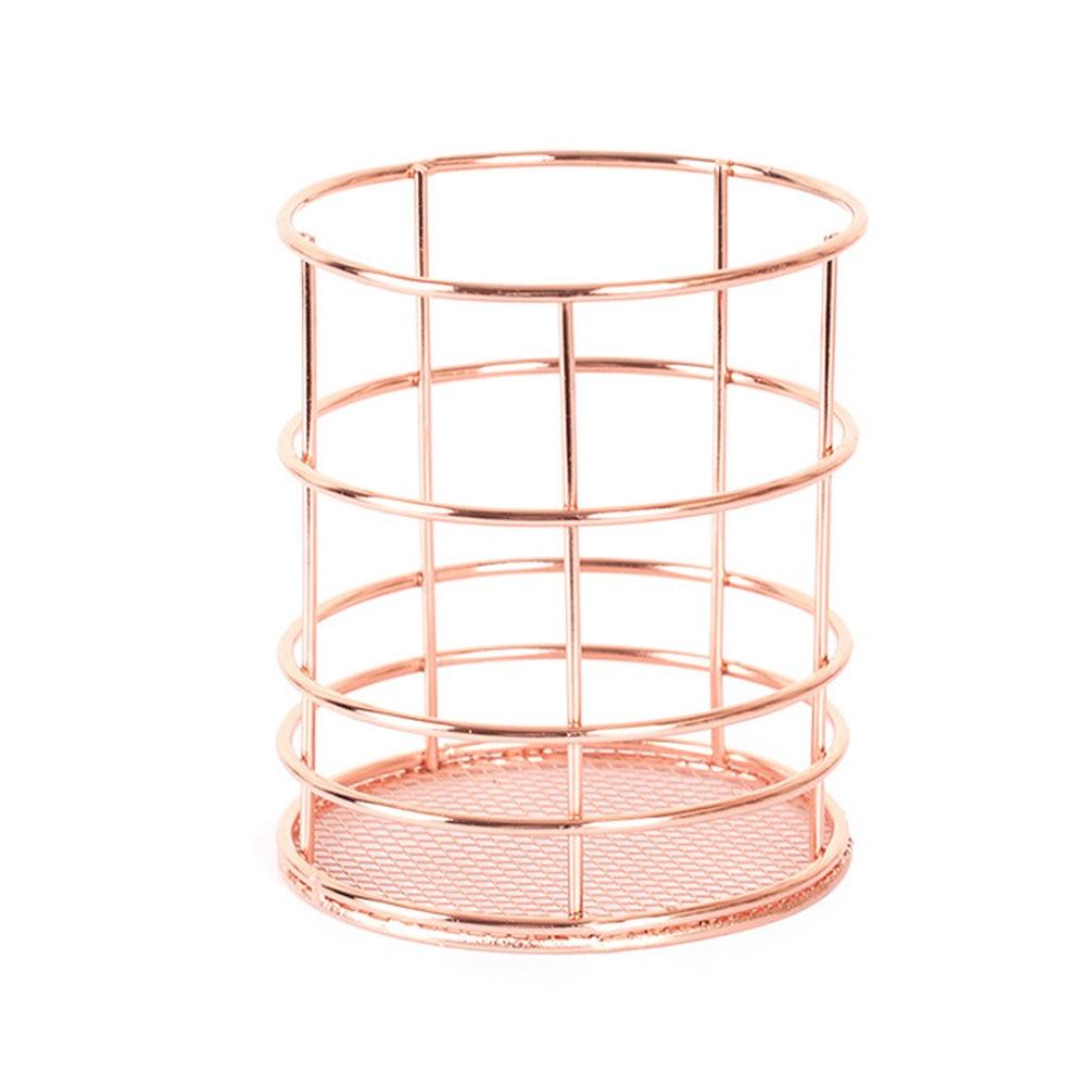 Нордическая корзина для хранения из розового золота сетчатая корзина винтажный офисный органайзер для фруктового стола Boite De Rangement Органайзер держатель Прямая - Цвет: 3