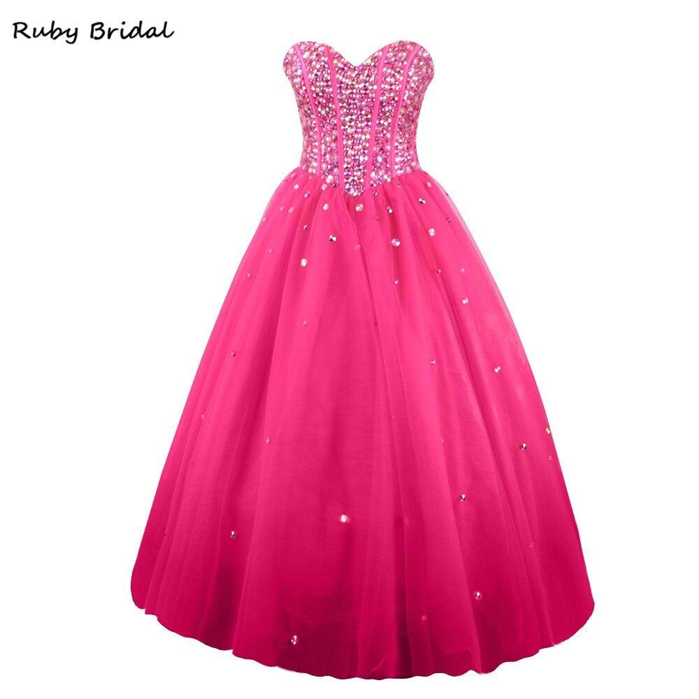 Rubí nupcial 2017 vestido de festa baile vestido rosa tulle ...