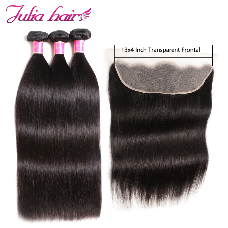 Ali Julia Hair Transparent Lace Frontal With Bundles Brazilian Straight Remy Human Hair 130% Density 13*4 Inch