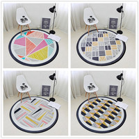 Nordic Geometric Pattern Circular Carpet For Living Room Soft Velvet Children Bedroom Rugs And Carpet Computer