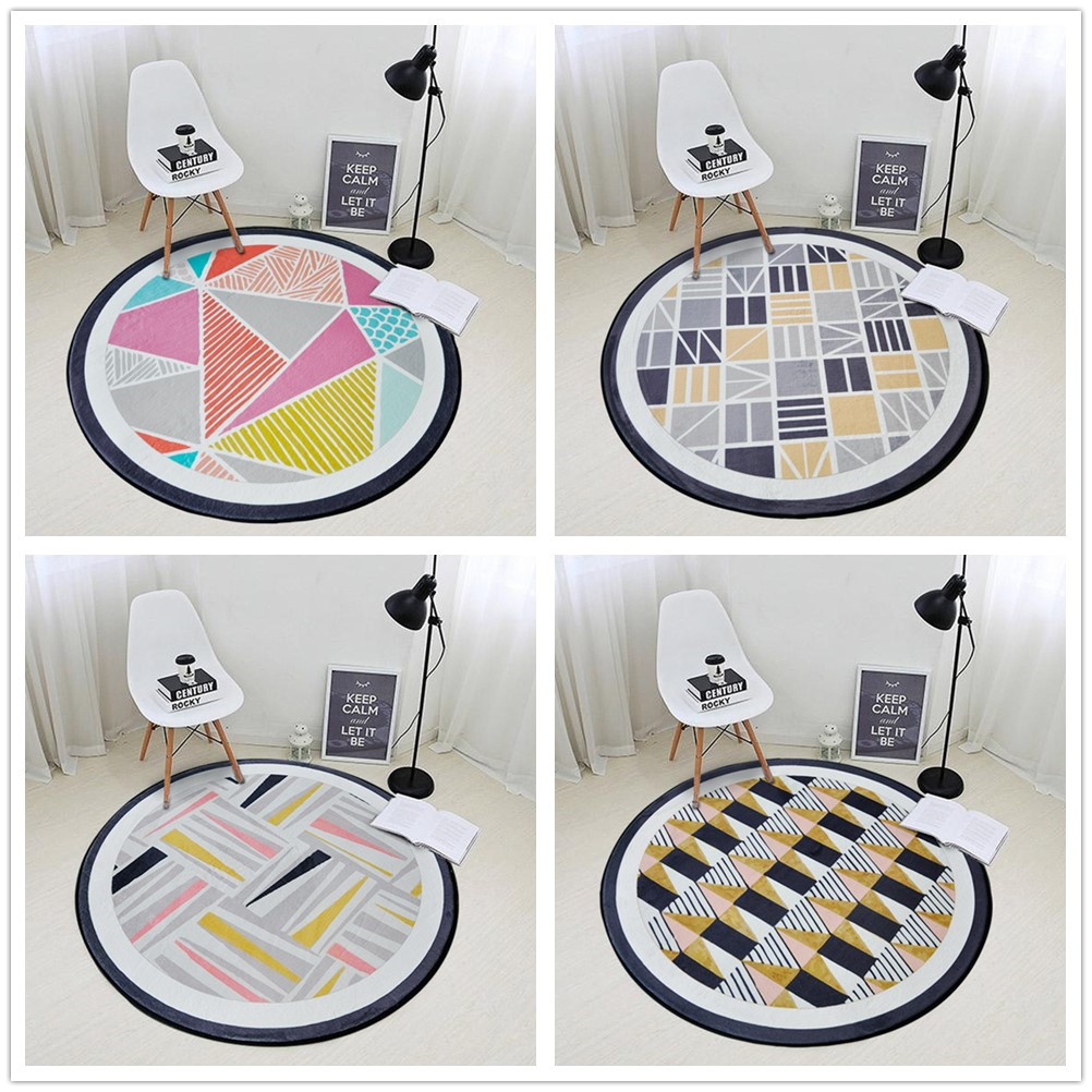 Nordic Geometric Pattern Circular Carpet For Living Room Soft Velvet Children Bedroom Rugs And Carpet Computer Chair Area Rug