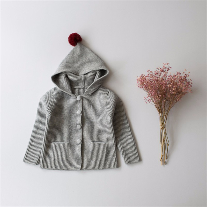 New Baby Boy Girl Top Cap Coat Kids Crochet Coat Autumn Toddler Girls Hat Sweater Children Knitted Warm Clothing Jacket Wear
