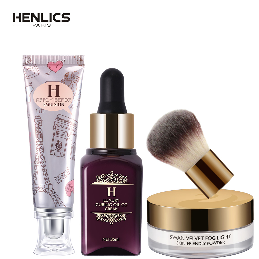 HENLICS Makeup Sets 3PCS Cosmetics Including Velvet Loose Powder with Brush plus Foundation CC Cream and Primer Makeup Tool Kits focallure 3pcs pro face makeup daily using foundation cream loose powder with high quality makeup brush