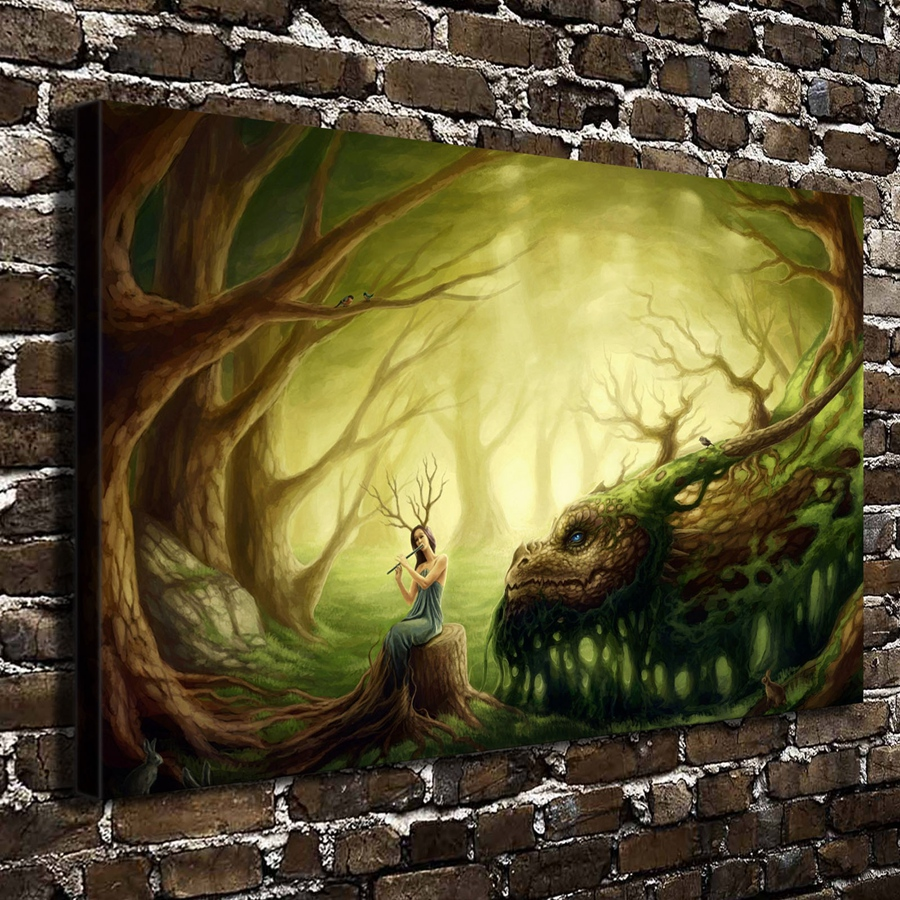 っ10108 Dragons Fantasy Art Girl Anime Landscape.HD Canvas Print ...