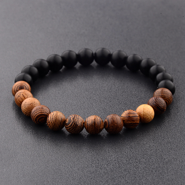 Amader 8mm New Natural Wood Beads Bracelets Men Black Ethinc Meditation White Bracelet Women Prayer Jewelry Yoga Bracelet Homme