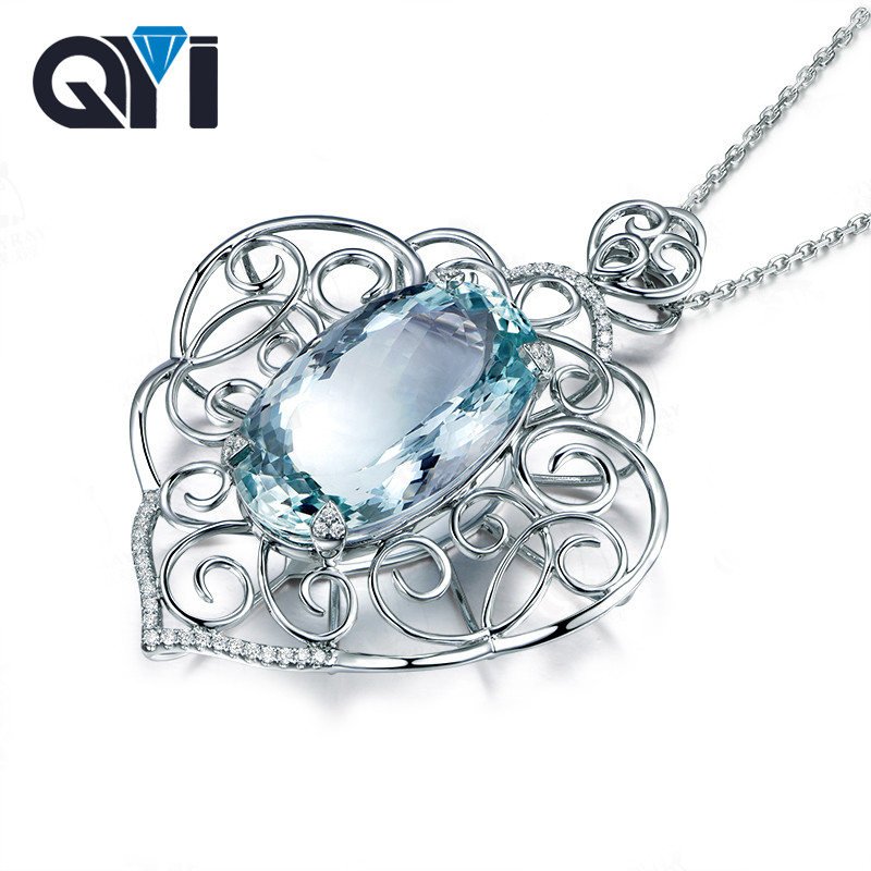QYI Unique Design Natural sky Blue Topaz Gemstone Pendants 925 Sterling Silver Necklaces For Women Anniversary Wedding gift