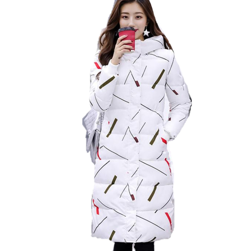 2018New Fashion Print Winter Long Women   Parkas   Female Hooded Button Slim Down Cotton Jacket Female Plus Size 3XL Warm CoatCQ2145