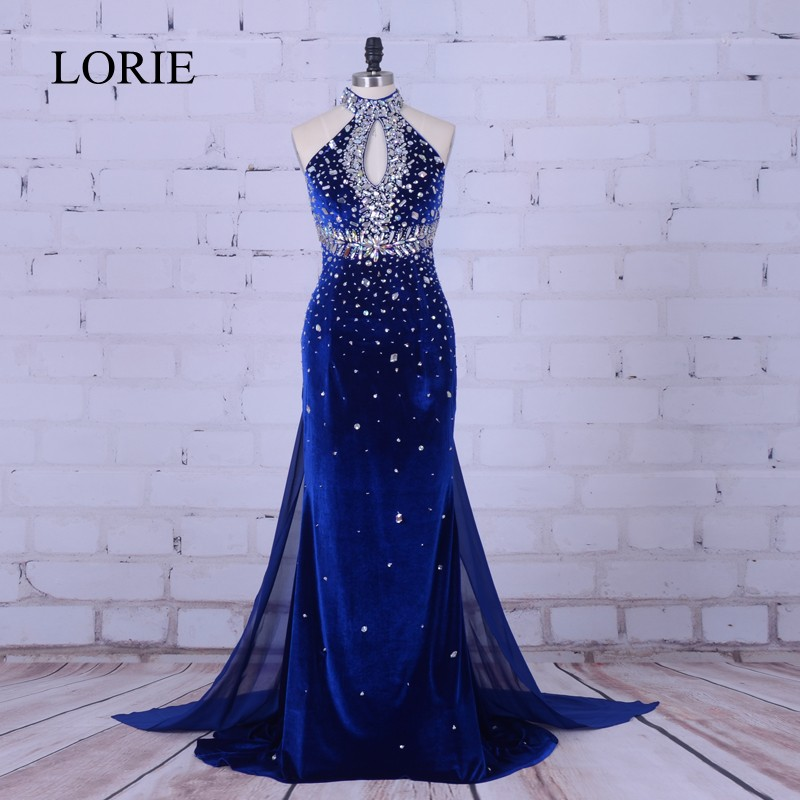 Luxury Mermaid   Evening     Dress   2019 Royal Blue Velvet Long Prom   Dresses   High Neck Crystal Beading Formal   Dress   Women Wedding Party