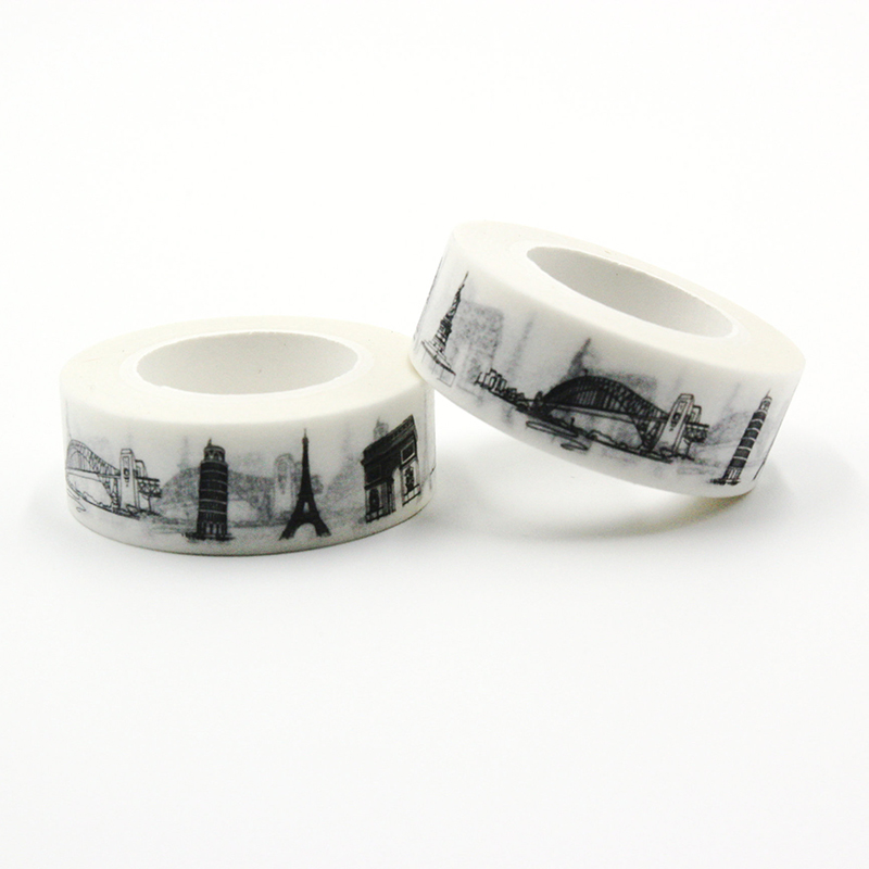 1 PCS New Sketched Paris Eiffel Tower Triumphal Arch France Japanese Washi Tape Office Adhesive Tape Adesivo 15mm*10m