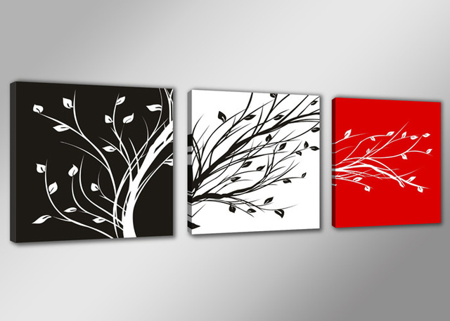 Hd canvas prints modern black white red tree 3 panels unframed oil painting home decoration wall